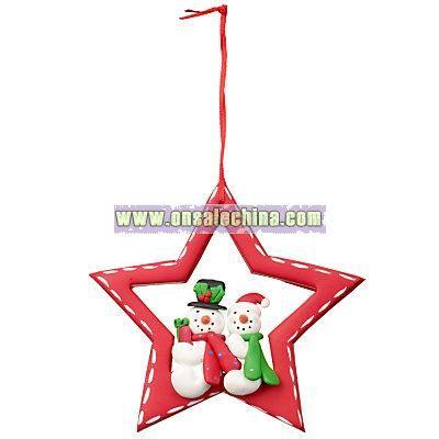 Sitting Santa and Snowman Star Christmas Tree Decoration, Assorted