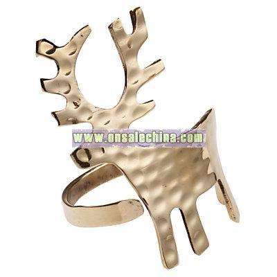 Reindeer Napkin Ring, Brass