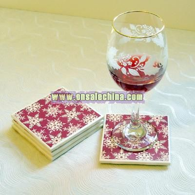 Red and White Snowflake Ceramic Tile Coasters Set of Four