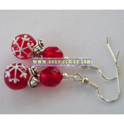 Snowflake Christmas Red Lampwork and Czech Glass Beaded Earrings