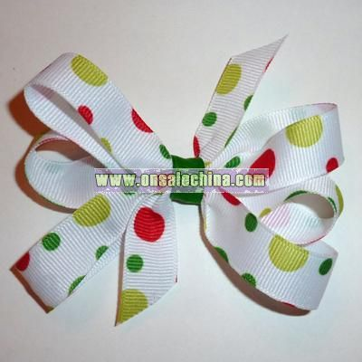 Christmas Polka-Dot Red, Green and White Bow