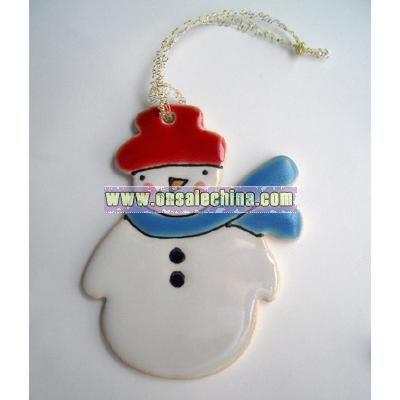 Porcelain Snowman Decoration 4 x 3 1/2 inches