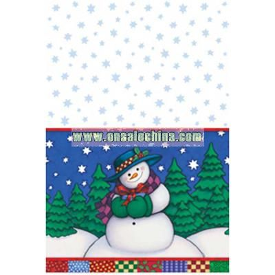 Winter Snowman Themed Plastic Tablecover