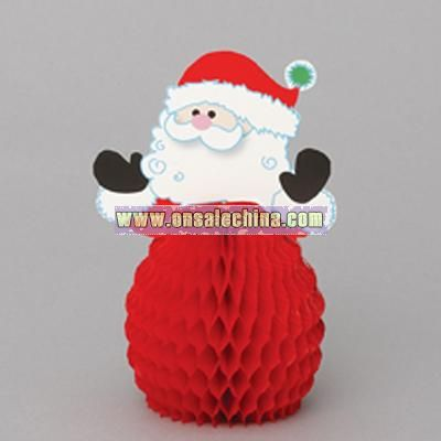 6 Inch Santa Honeycomb Decorations - 4 in a pack