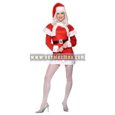 Miss Santa Costume with Cape - Small Size