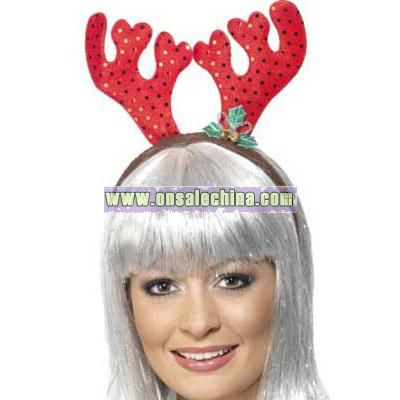 Sequin Reindeer Antlers in Red