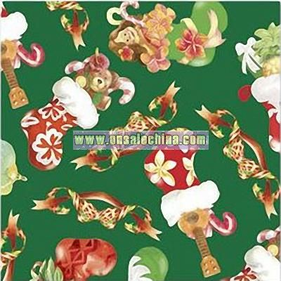 Island-Style Christmas Gift Wrap Rolled