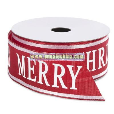 Merry Christmas Wired Ribbon