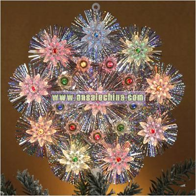 Retro Silver Tinsel Flower Christmas Tree Topper With Multi-Color Lights