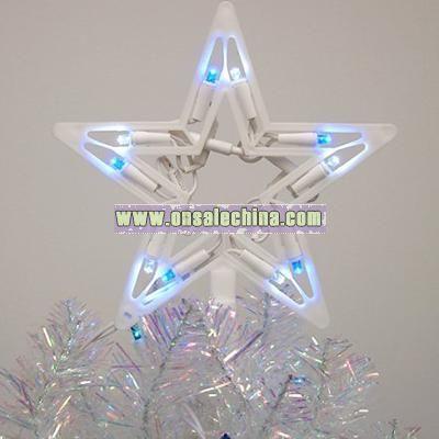 Blue & White LED Lighted Star Christmas Tree Topper