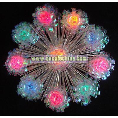 Lighted Shimmering Iridescent Retro Burst Christmas Tree Topper -Multi Lights
