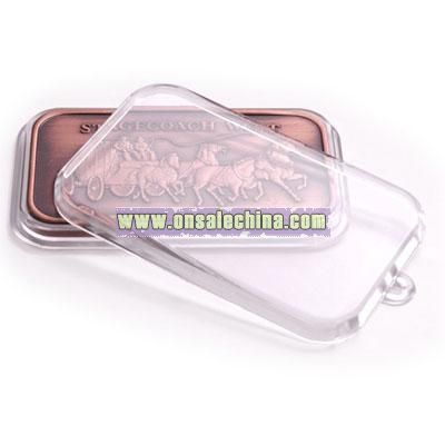 Clear Lucite Capsule with tab for bar