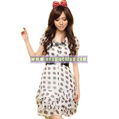 Layered Hem Dotted Silk Dress