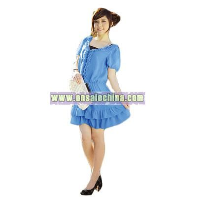 Ruffled Trim Silk Dress