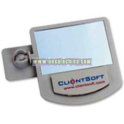 Rear view computer mirror with memo holder