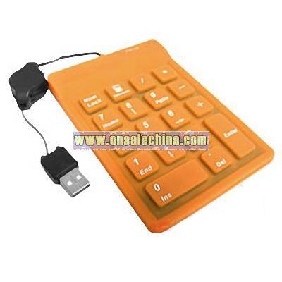Flexible Orange USB Silicone Waterproof Number Keyboard for Windows Vista PC