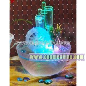 Glass Tabletop Fountain with Water Wheel