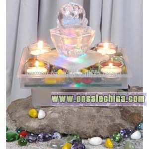 Glass Tabletop Fountain with Candle