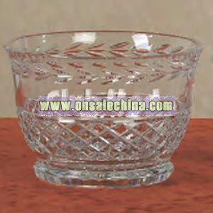 crystal bowl on case