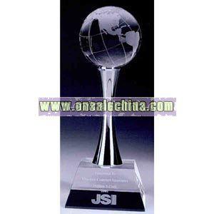 Optical crystal globe trophy award