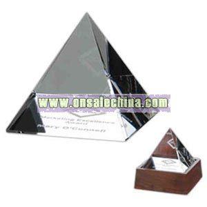 crystal pyramid shaped award