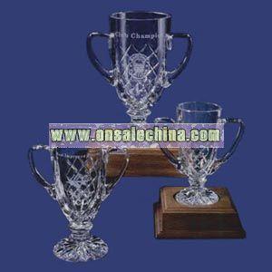 Cut crystal trophy cup