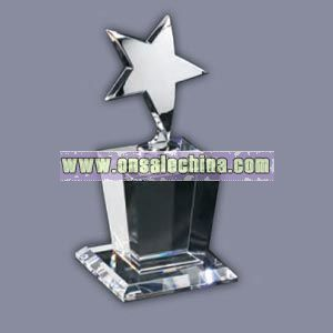Silver star prism crystal award