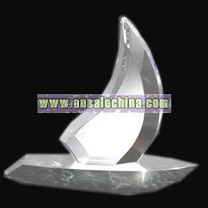 Fine lead crystal sailboat award