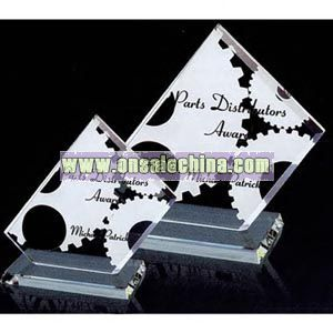 rectangle crystal glass award