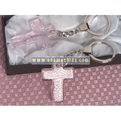 Handcrafted Glass Cross Key Chain Favors - Pink