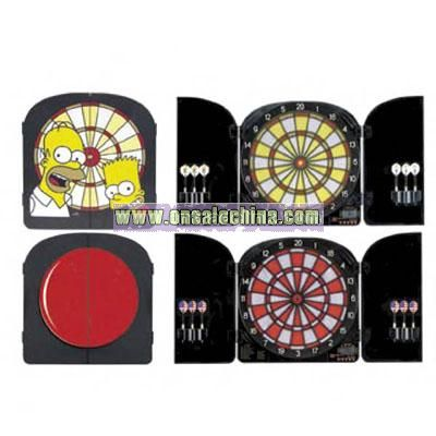 Electronic dart board cabinet with molded doors