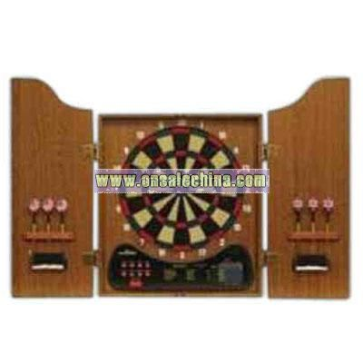 Solid wood electronic dart board cabinet set