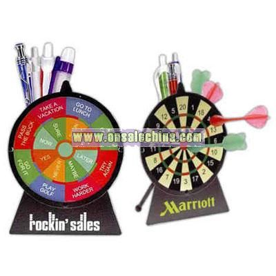 Dart board shaped pen caddy