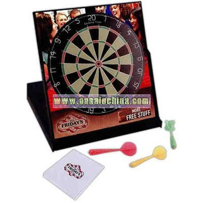 Folding magnetic dart board game