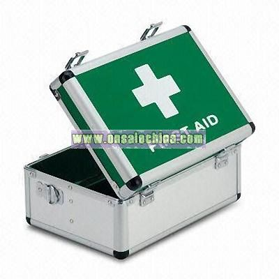 First Aid Box with Aluminum Frame and Embossed Stripe Pattern