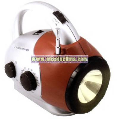 Miniature flashlight AM/FM radio with telescopic antenna