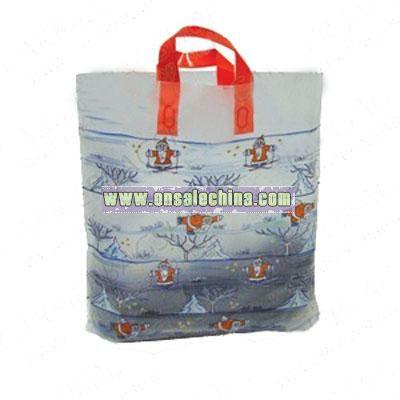Santa on Ice Premium Plastic Carrier Bags with Loop Handles