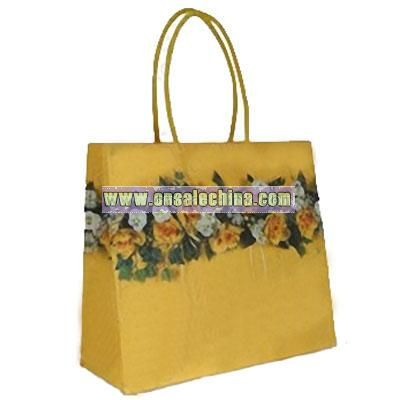 Yellow Rose Design Paper Carrier Bags With Cotton Handles