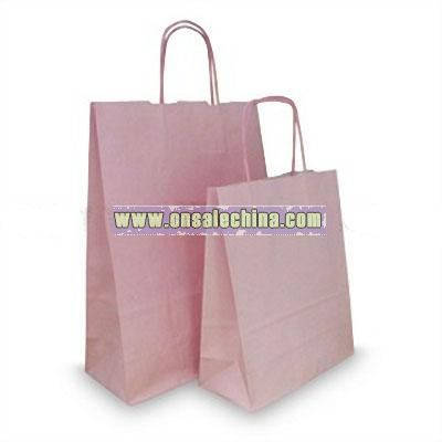 Pastel Pink Paper Carrier Bags with Twisted Handles