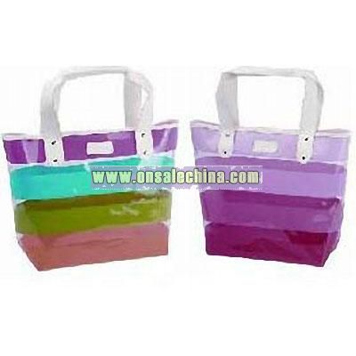 Striped PVC Shopping Bag