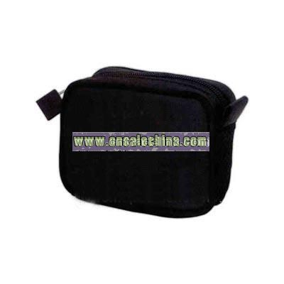Smooth black PVC travel amenities or cosmetic bag