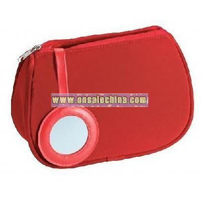 Make-Up Bag with Mirror red
