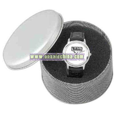 Round Silvertone Tin