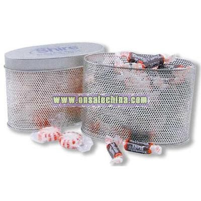 Oval Metal Mesh Candy Tin