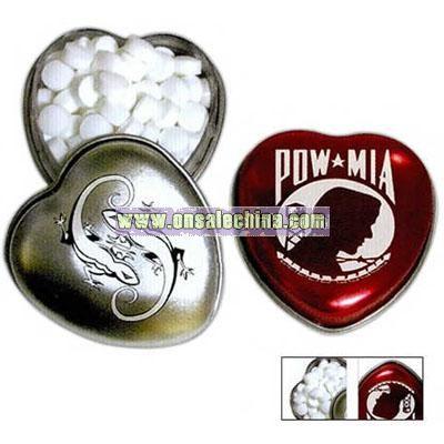 Pocket size heart shaped tin mints