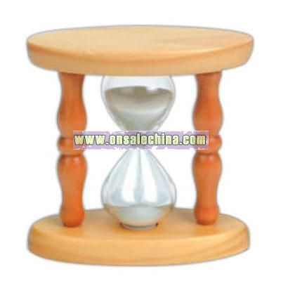Natural oval shape sand timer with white sand.