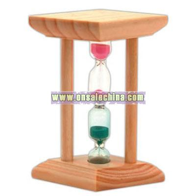 Pipe shape wooden timer with 2 level center glass sand tube