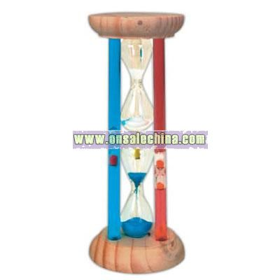 Deluxe circle shape wooden two level sand filled timer