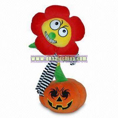 Dancing Sunflower Standing in Pumpkin Design Plush Toy