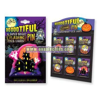 Boootiful Halloween Flashing Pins With Display